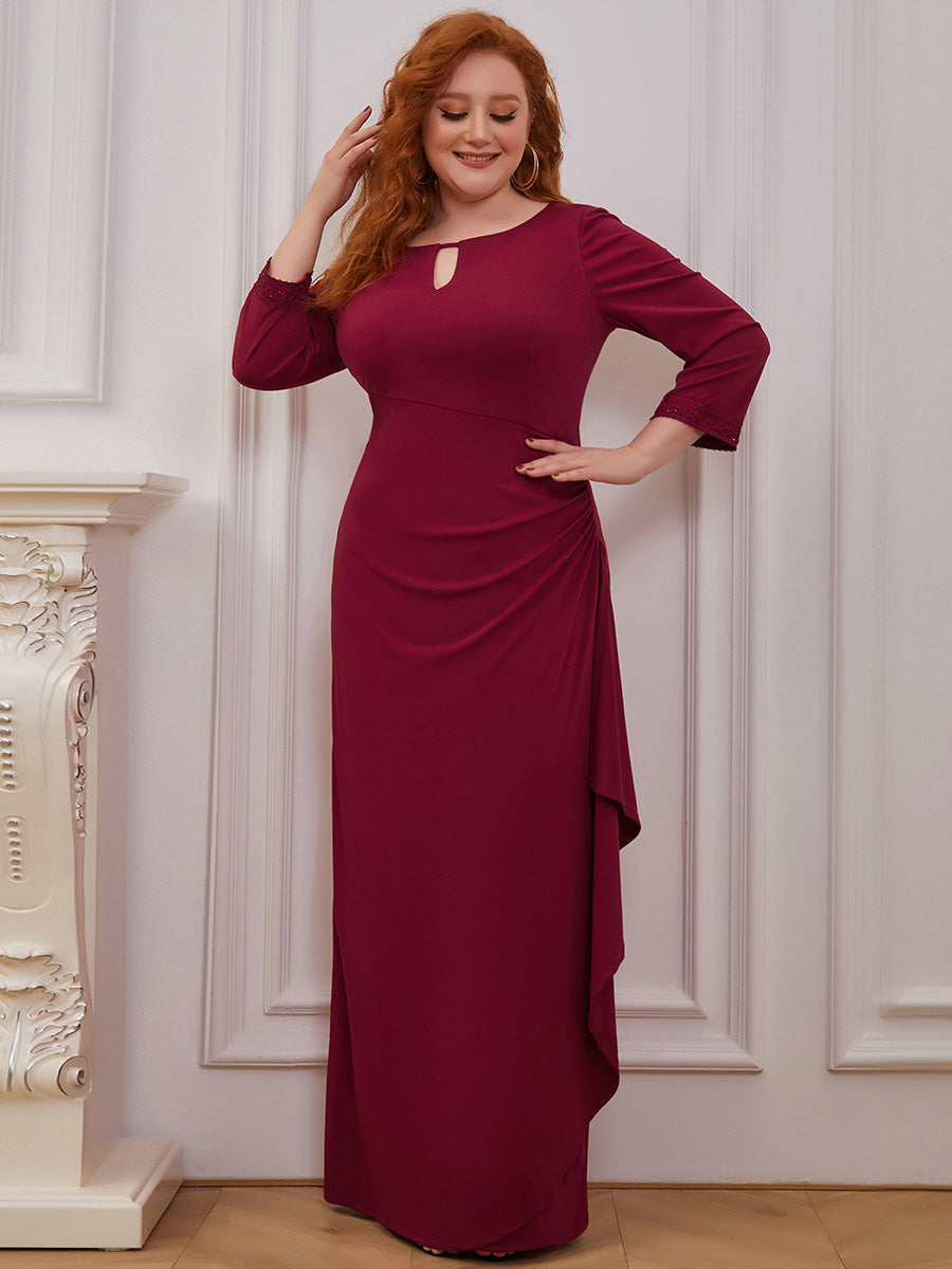 Color=Burgundy | Modest Wholesale Side Ruched Round Neck Wholesale Evening Dress-Burgundy 1