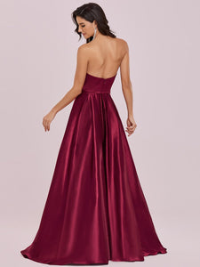 Color=Burgundy | Sweetheart Neck Wholesale Prom Dress With Asymmetrical Hem-Burgundy 2