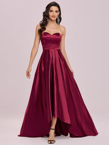 Color=Burgundy | Sweetheart Neck Wholesale Prom Dress With Asymmetrical Hem-Burgundy 1