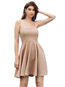 Color=Blush | Shimmery Wholesale Above Knee Open Back Prom Dress -Blush 2