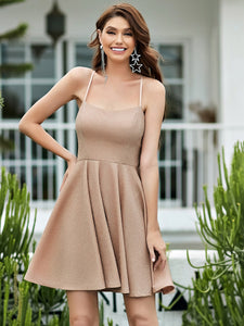 Color=Blush | Shimmery Wholesale Above Knee Open Back Prom Dress -Blush 4
