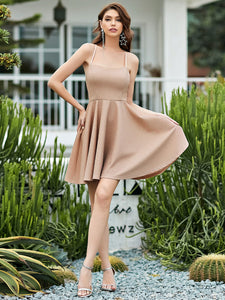 Color=Blush | Shimmery Wholesale Above Knee Open Back Prom Dress -Blush 5