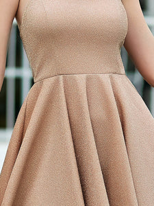 Color=Blush | Shimmery Wholesale Above Knee Open Back Prom Dress -Blush 6