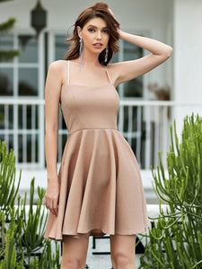 Color=Blush | Shimmery Wholesale Above Knee Open Back Prom Dress -Blush 1