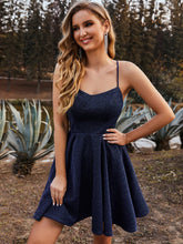 Load image into Gallery viewer, Color=Navy Blue | Shimmery Wholesale Above Knee Open Back Prom Dress -Navy Blue 2