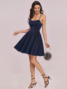 Color=Navy Blue | Shimmery Wholesale Above Knee Open Back Prom Dress -Navy Blue 4