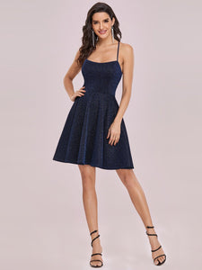 Color=Navy Blue | Shimmery Wholesale Above Knee Open Back Prom Dress -Navy Blue 5