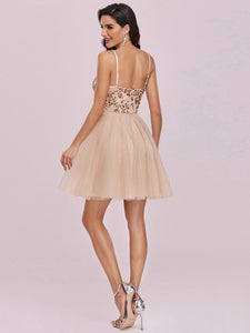 Color=Blush | Women'S Sexy Wholesale Sweetheart Sequin Short Tulle Prom Dress-Blush 2