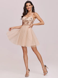 Color=Blush | Women'S Sexy Wholesale Sweetheart Sequin Short Tulle Prom Dress-Blush 3
