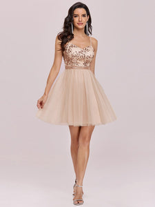 Color=Blush | Women'S Sexy Wholesale Sweetheart Sequin Short Tulle Prom Dress-Blush 4