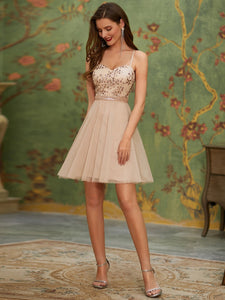 Women's Sexy Wholesale Sweetheart Sequin Short Tulle Prom Dress EO03130