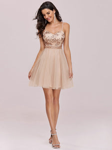 Color=Blush | Women'S Sexy Wholesale Sweetheart Sequin Short Tulle Prom Dress-Blush 1