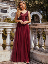 Load image into Gallery viewer, Color=Burgundy | Sexy V Neck Wholesale Tulle Evening Dress With Sequin Bodice-Burgundy 2