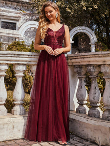 Color=Burgundy | Sexy V Neck Wholesale Tulle Evening Dress With Sequin Bodice-Burgundy 2