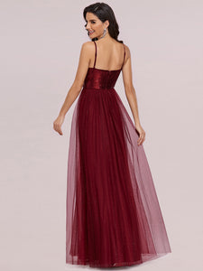 Color=Burgundy | Sexy V Neck Wholesale Tulle Evening Dress With Sequin Bodice-Burgundy 3