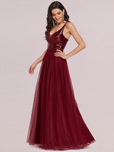 Load image into Gallery viewer, Color=Burgundy | Sexy V Neck Wholesale Tulle Evening Dress With Sequin Bodice-Burgundy 4