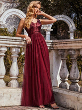 Load image into Gallery viewer, Color=Burgundy | Sexy V Neck Wholesale Tulle Evening Dress With Sequin Bodice-Burgundy 1