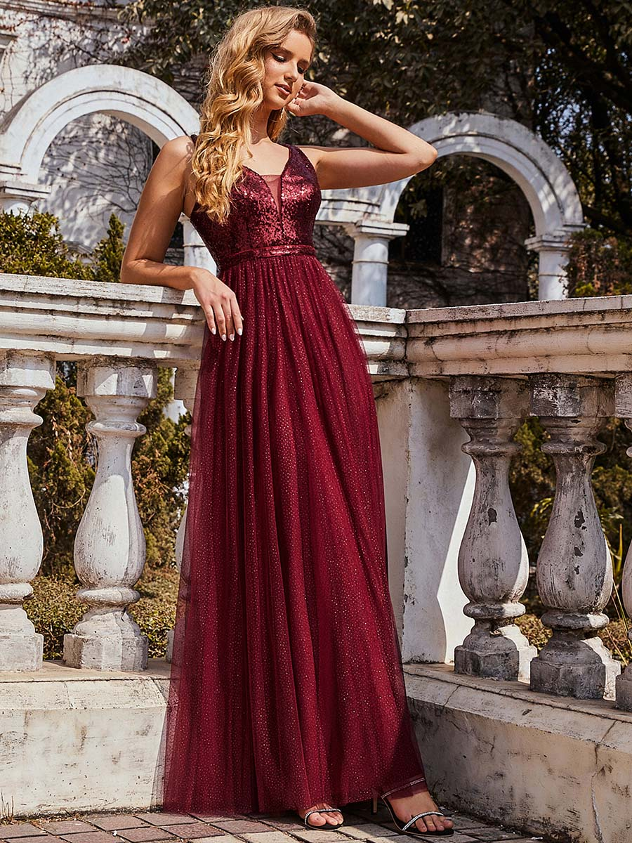 Color=Burgundy | Sexy V Neck Wholesale Tulle Evening Dress With Sequin Bodice-Burgundy 1