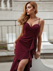 Color=Burgundy | Sexy Sweetheart Neckline Wholesale Fishtail Evening Dress With Ruffles-Burgundy 7