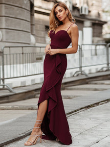 Color=Burgundy | Sexy Sweetheart Neckline Wholesale Fishtail Evening Dress With Ruffles-Burgundy 6