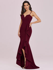 Color=Burgundy | Sexy Sweetheart Neckline Wholesale Fishtail Evening Dress With Ruffles-Burgundy 3