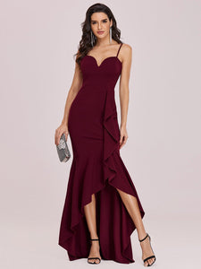 Color=Burgundy | Sexy Sweetheart Neckline Wholesale Fishtail Evening Dress With Ruffles-Burgundy 4
