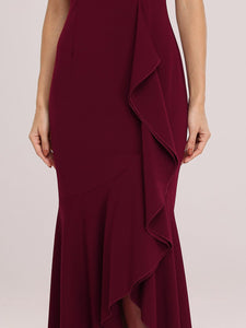 Color=Burgundy | Sexy Sweetheart Neckline Wholesale Fishtail Evening Dress With Ruffles-Burgundy 5