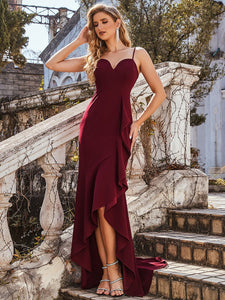 Color=Burgundy | Sexy Sweetheart Neckline Wholesale Fishtail Evening Dress With Ruffles-Burgundy 1