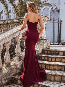 Color=Burgundy | Sexy Sweetheart Neckline Wholesale Fishtail Evening Dress With Ruffles-Burgundy 2