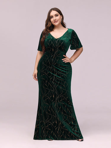 Color=Dark Green | Sexy V Neck Velvet Evenig Dress With Gold Stamping-Dark Green 1