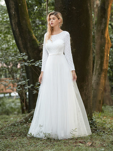 Color=Cream | Fancy Round Neck Tulle Wholesale Wedding Dress With Long Sleeves-Cream 1