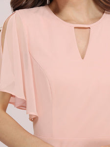 Color=Pink | Cute Wholesale Chiffon Bridesmaid Dress With Asymmetrical Hem-Pink 5