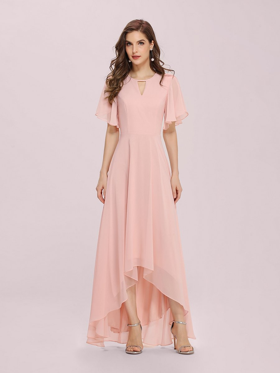 Color=Pink | Cute Wholesale Chiffon Bridesmaid Dress With Asymmetrical Hem-Pink 1