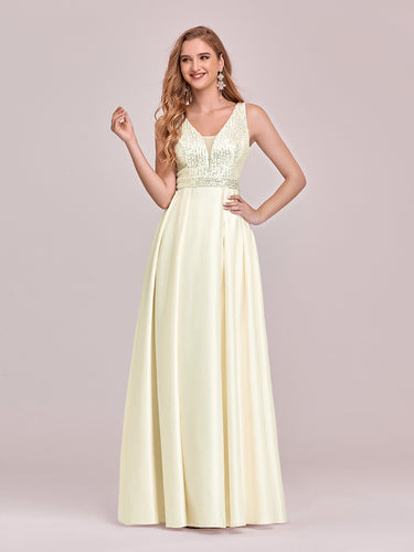 Color=Yellow | Sweet Double V Neck A-Line Wholesale Satin Prom Dress With Sequin-Yellow 1