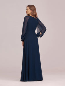 Color=Navy Blue | Casual Long Sleeve Wholesale A-Line Chiffon Evening Dress-Navy Blue 2