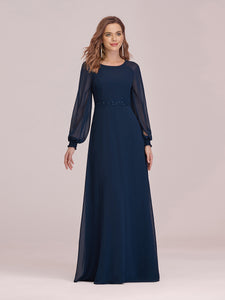 Color=Navy Blue | Casual Long Sleeve Wholesale A-Line Chiffon Evening Dress-Navy Blue 4