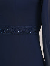 Load image into Gallery viewer, Color=Navy Blue | Casual Long Sleeve Wholesale A-Line Chiffon Evening Dress-Navy Blue 5