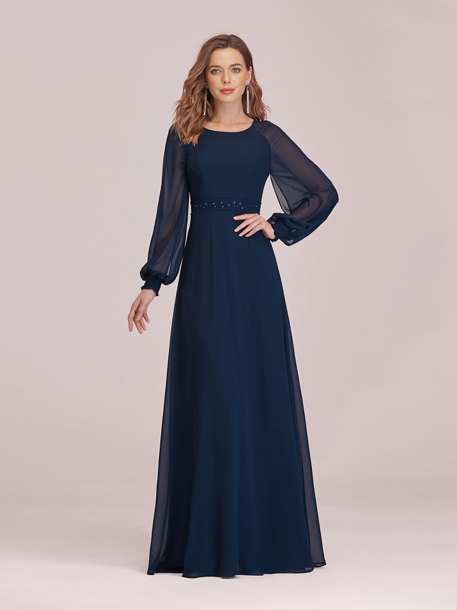 Color=Navy Blue | Casual Long Sleeve Wholesale A-Line Chiffon Evening Dress-Navy Blue 1