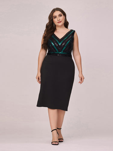Color=Black | Women'S Plus Size Wholesale V Neck Sequin Midi-Length Party Dress-Black 1