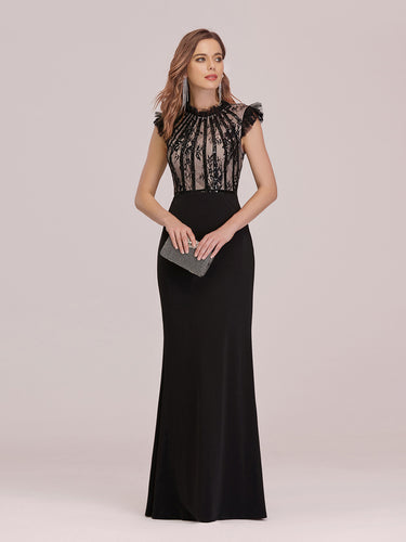 Color=Black | Elegant Floor Length Wholesale Fishtail Evening Dress With Ruffles-Black 1