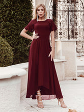 Load image into Gallery viewer, Color=Burgundy | Elegant A-Line Chiffon Knee-Length Cocktail Dress For Party-Burgundy 6