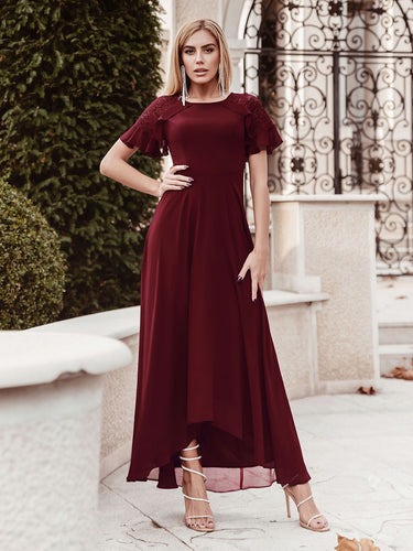 Color=Burgundy | Elegant A-Line Chiffon Knee-Length Cocktail Dress For Party-Burgundy 6