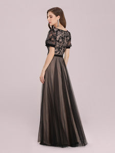 Color=Black | Fashion Wholesale Constract Color Tulle & Lace Evening Dress-Black 3