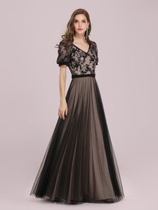Color=Black | Fashion Wholesale Constract Color Tulle & Lace Evening Dress-Black 4