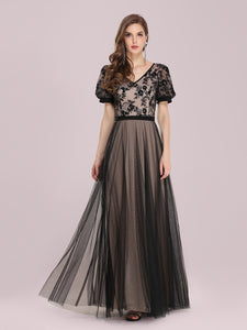 Color=Black | Fashion Wholesale Constract Color Tulle & Lace Evening Dress-Black 1