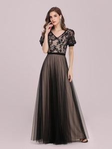 Color=Black | Fashion Wholesale Constract Color Tulle & Lace Evening Dress-Black 2