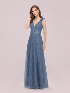 Color=Dusty Navy | Romantic Diamond Stamping Wholesale Tulle Prom Dress With Appliques-Dusty Navy 3