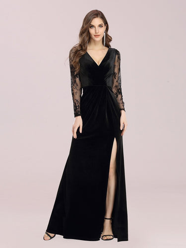 Color=Black | Elegant V Neck Wholesale Evening Dress With Long Lace Sleeves-Black 1