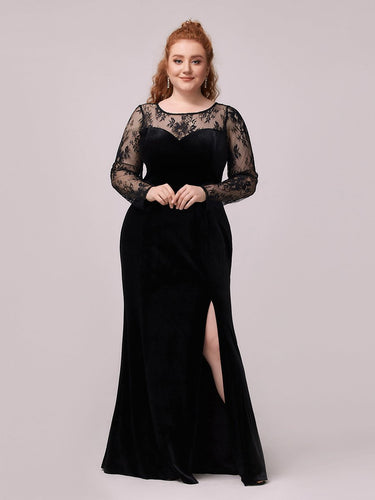Color=Black | Trendy Plus Size Side Split Velvet& Lace Evening Dress-Black 1
