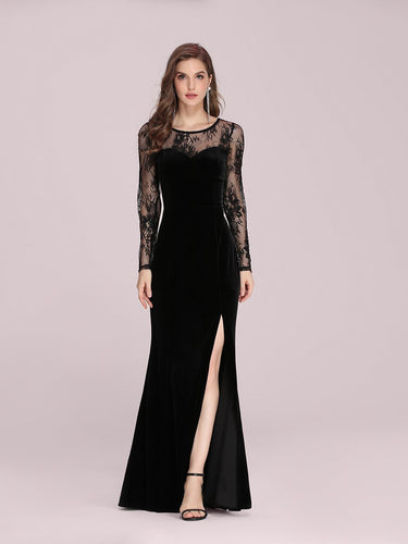Color=Black | Sexy Lace Neckline Wholesale Velvet Evening Dress With Side Split-Black 1